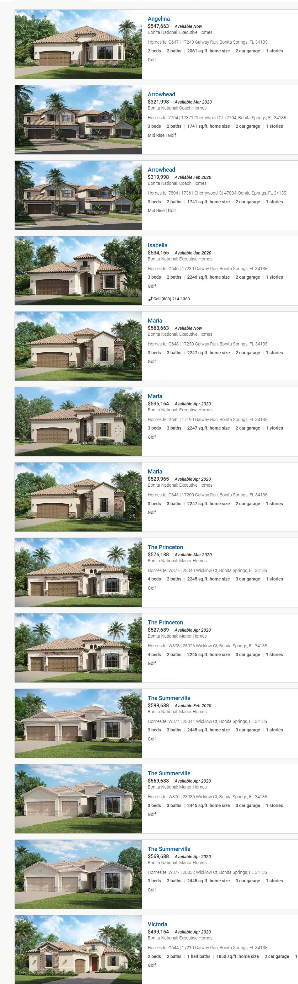 2020-01-14 Bonita National New Home Community - Bonita Springs FL inventory homes