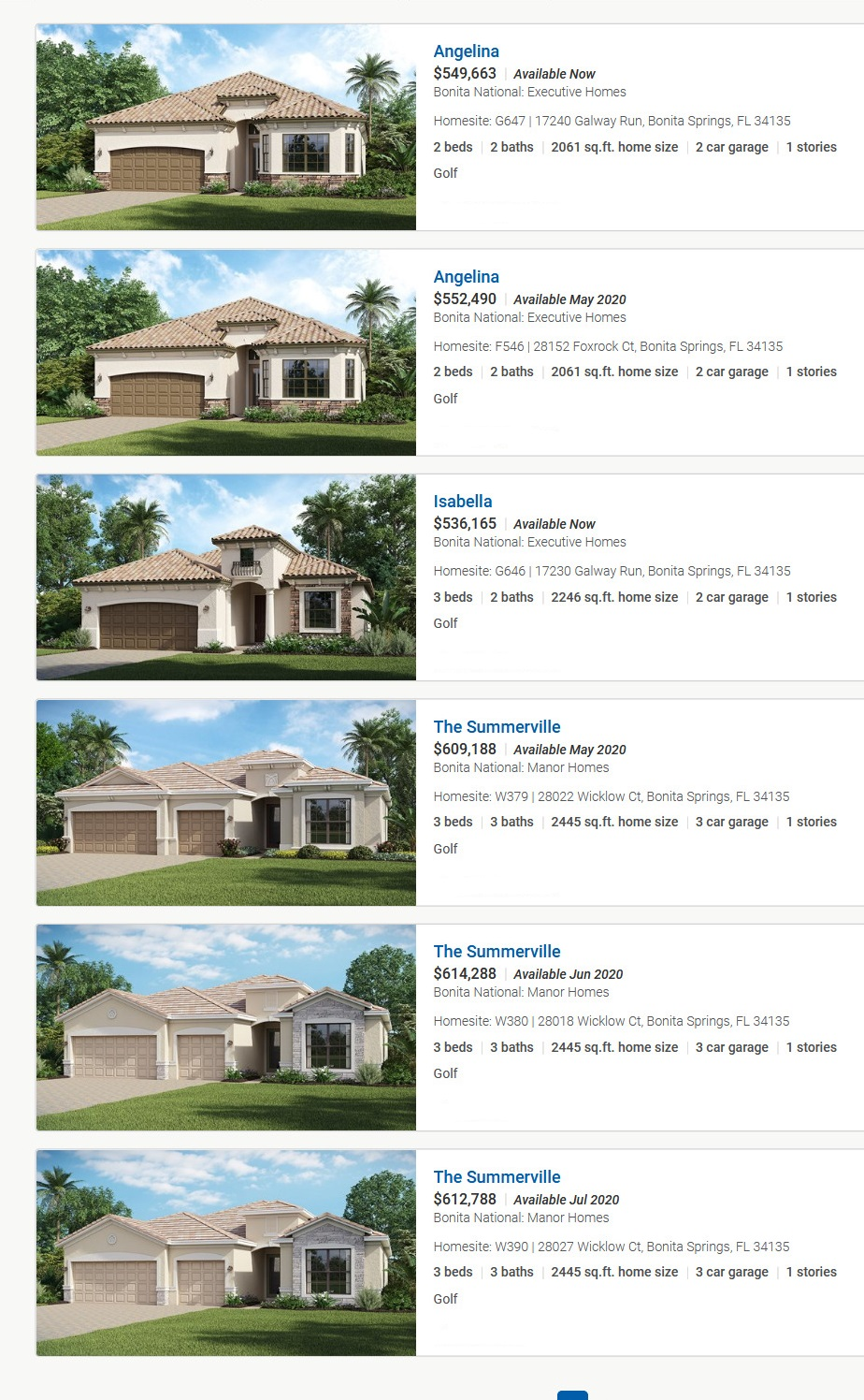 2020-03-15 Bonita National New Home Community - Bonita Springs, Florida Inventory  Homes